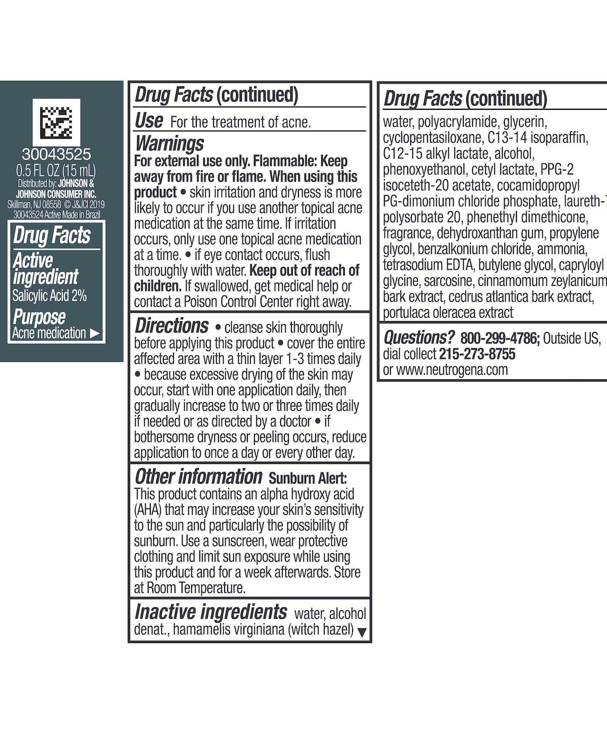 Acne Spot Gel Treatment With Salicylic Acid Witch Hazel Neutrogena
