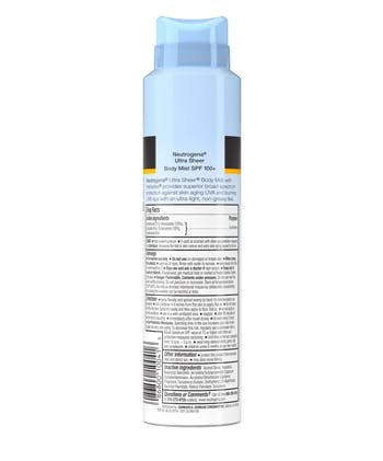 Neutrogena Ultra Sheer Lightweight Sunscreen Spray, SPF 100+, 5 oz
