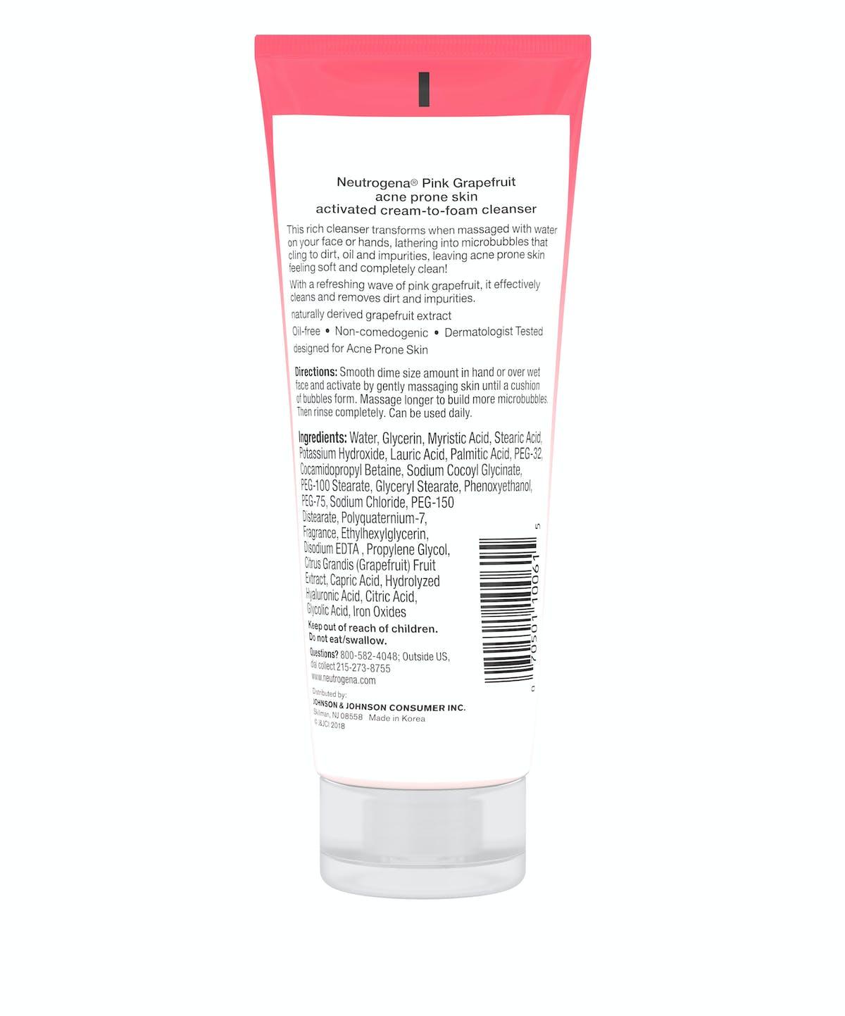 Neutrogena® Pink Grapefruit Acne Prone Skin Activated Cream-to-Foam Cleanser
