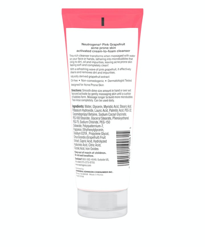 Neutrogena® Pink Grapefruit Acne Prone Skin Activated Cream-to-Foam Cleanser
