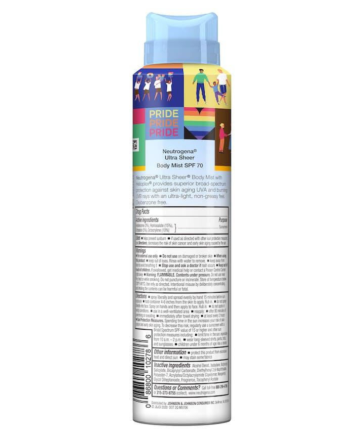 Neutrogena Ultra Sheer Spray SPF 70 - Limited Pride Edition