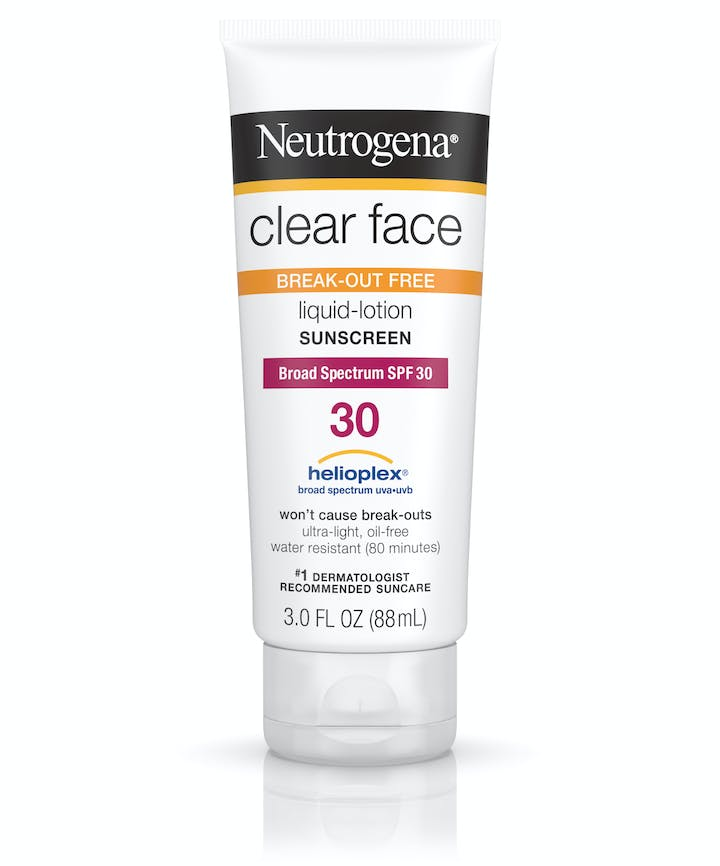 Neutrogena Clear Face Break-Out Free Liquid Lotion Sunscreen Broad Spectrum SPF 30