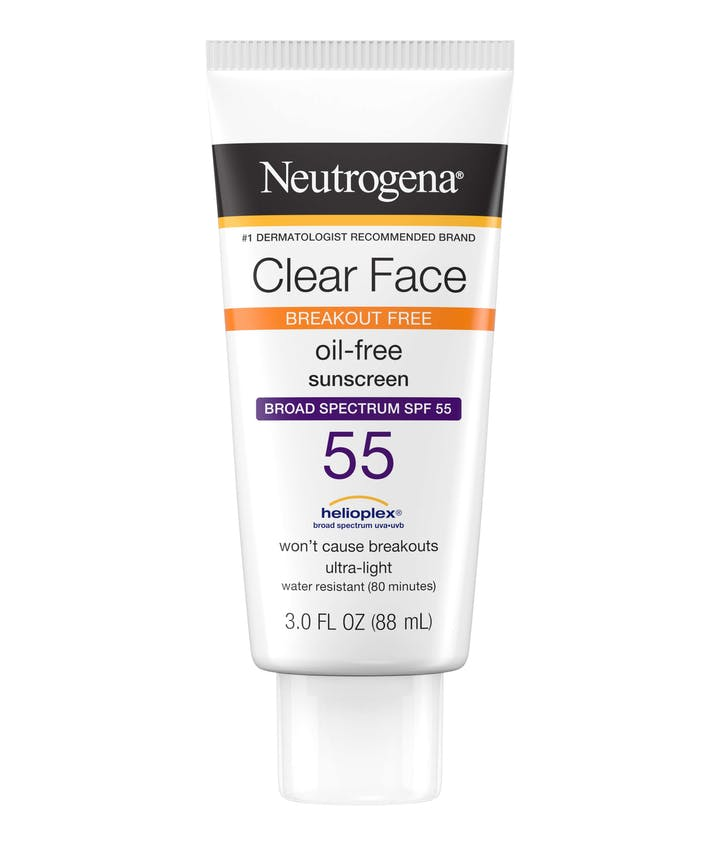 Neutrogena Clear Face Break-Out Free Liquid Lotion Sunscreen Broad Spectrum SPF 55