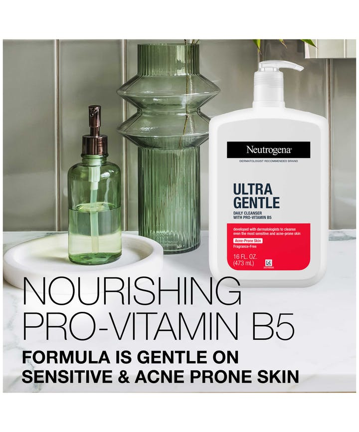 Ultra Gentle Daily Cleanser with Pro-Vitamin B5 for Acne Prone Skin, Fragrance-Free