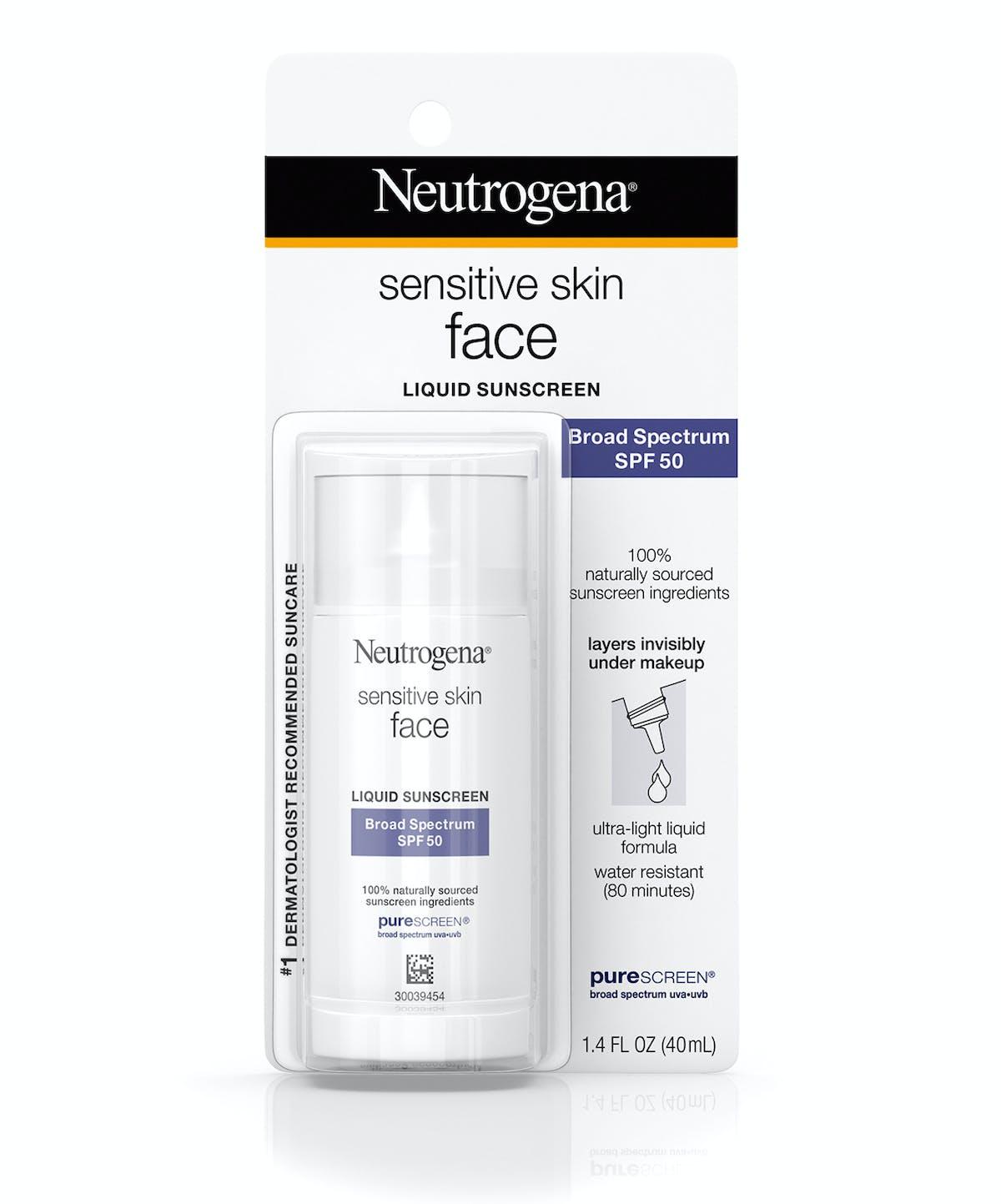 Neutrogena® Sensitive Skin Face Liquid Sunscreen Broad Spectrum SPF 50
