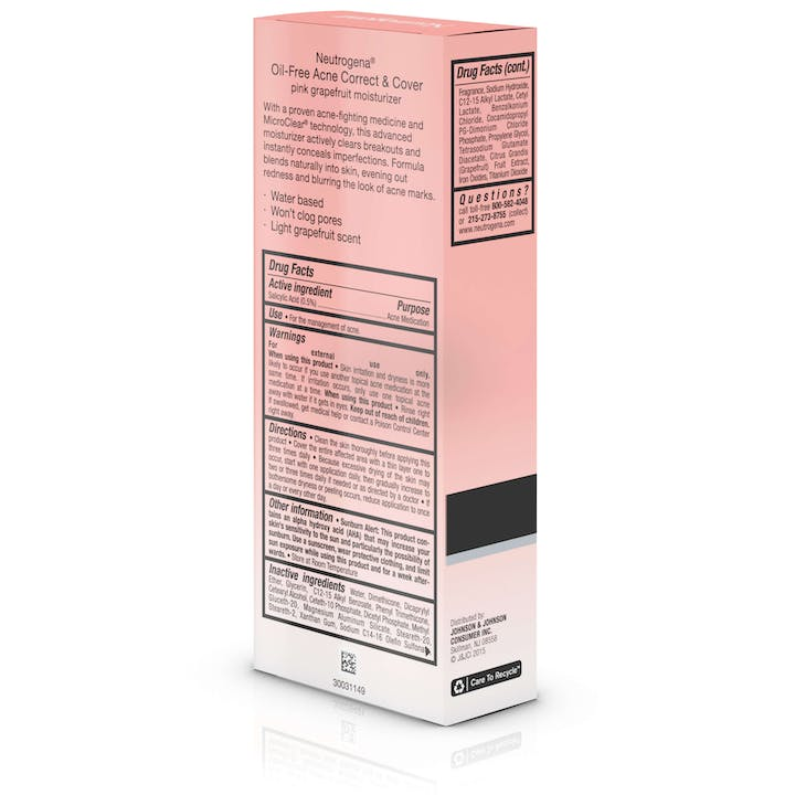Oil-Free Acne Correct & Cover Pink Grapefruit Moisturizer